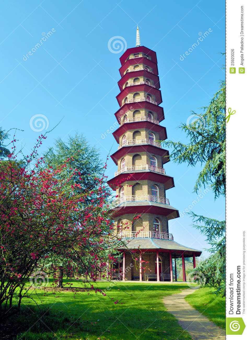Chinese Pagoda In Kew Gardens Royalty Free Stock Image - Image ...
