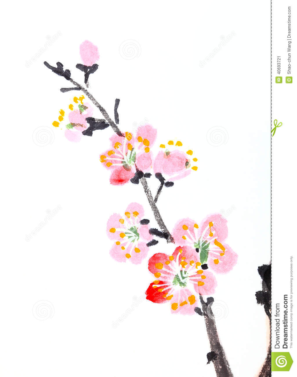 Chinese Painting Of Flowers, Plum Blossom Stock Image ...