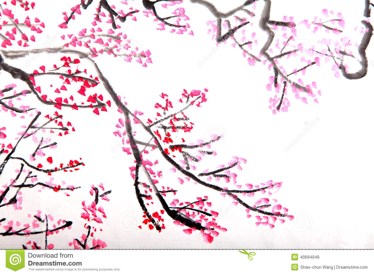 Red flowers border vector stock image - Chinese Painting Of Flowers Plum Blossom Stock Photo