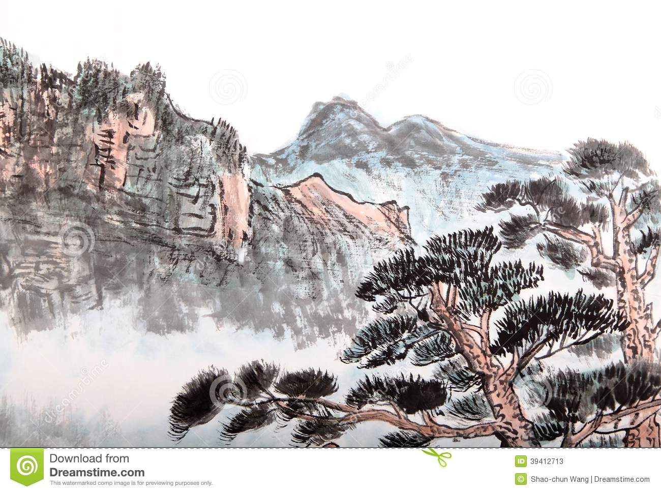 f627eb878 Traditional Chinese painting of high mountain landscape with cloud and mist