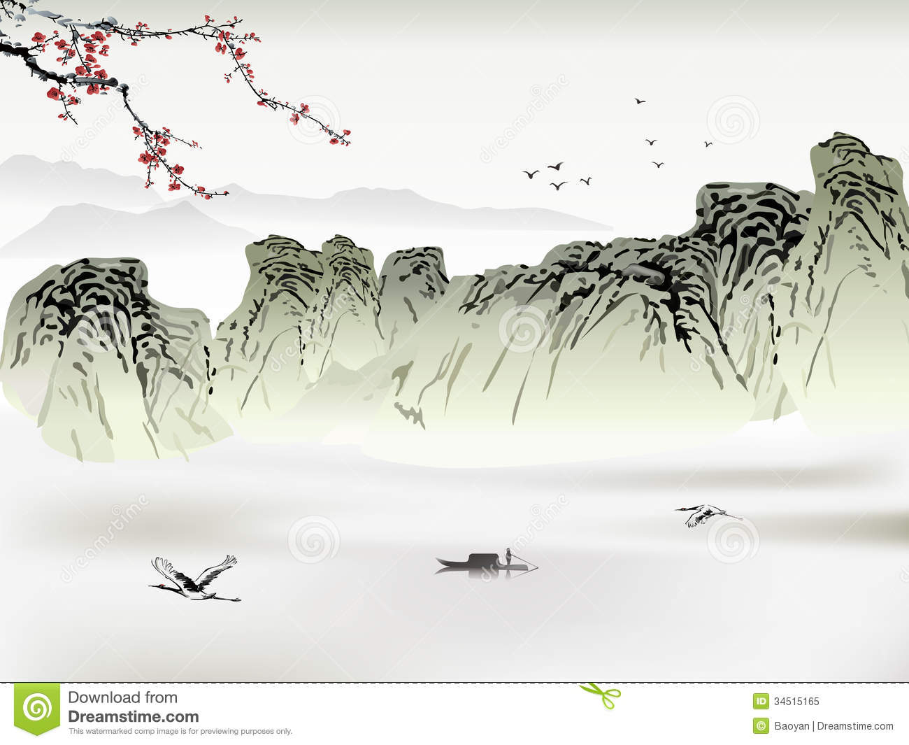 28e835fc0 Chinese painting stock vector. Illustration of background - 34515165