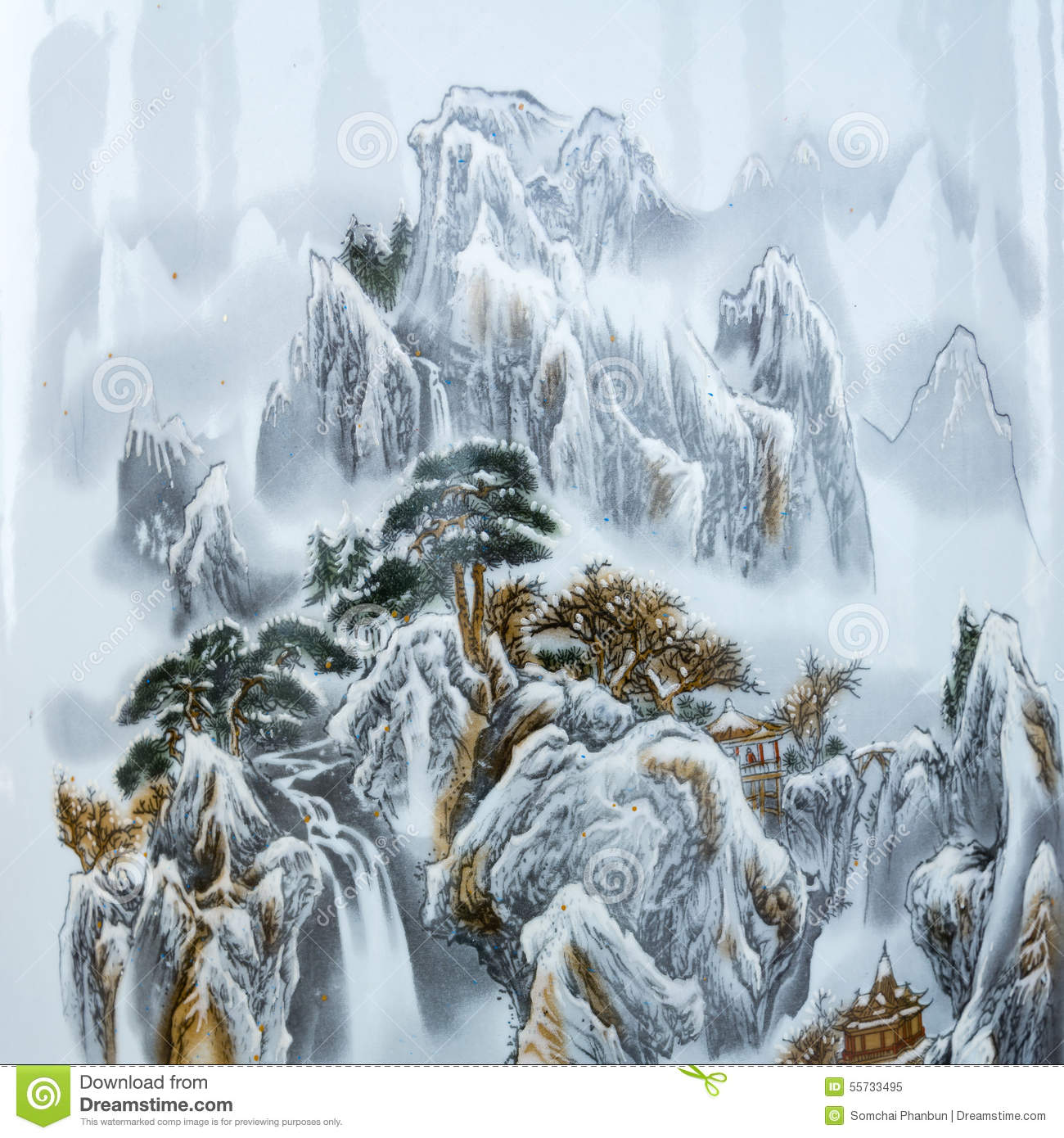 Chinese paintings of mountains