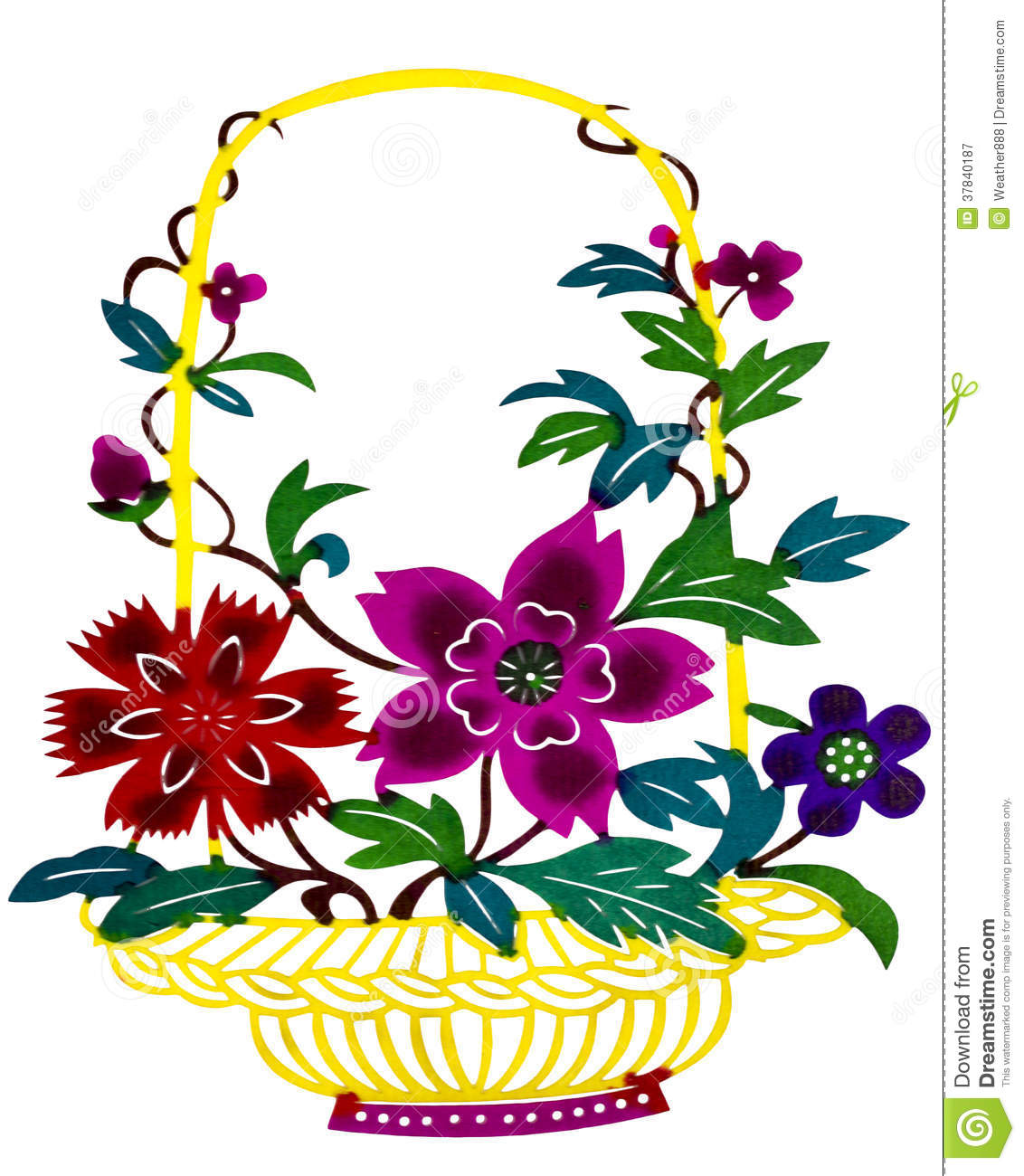 Chinese Paper Cut Color Flower Basket Stock Image Image Of Flowers