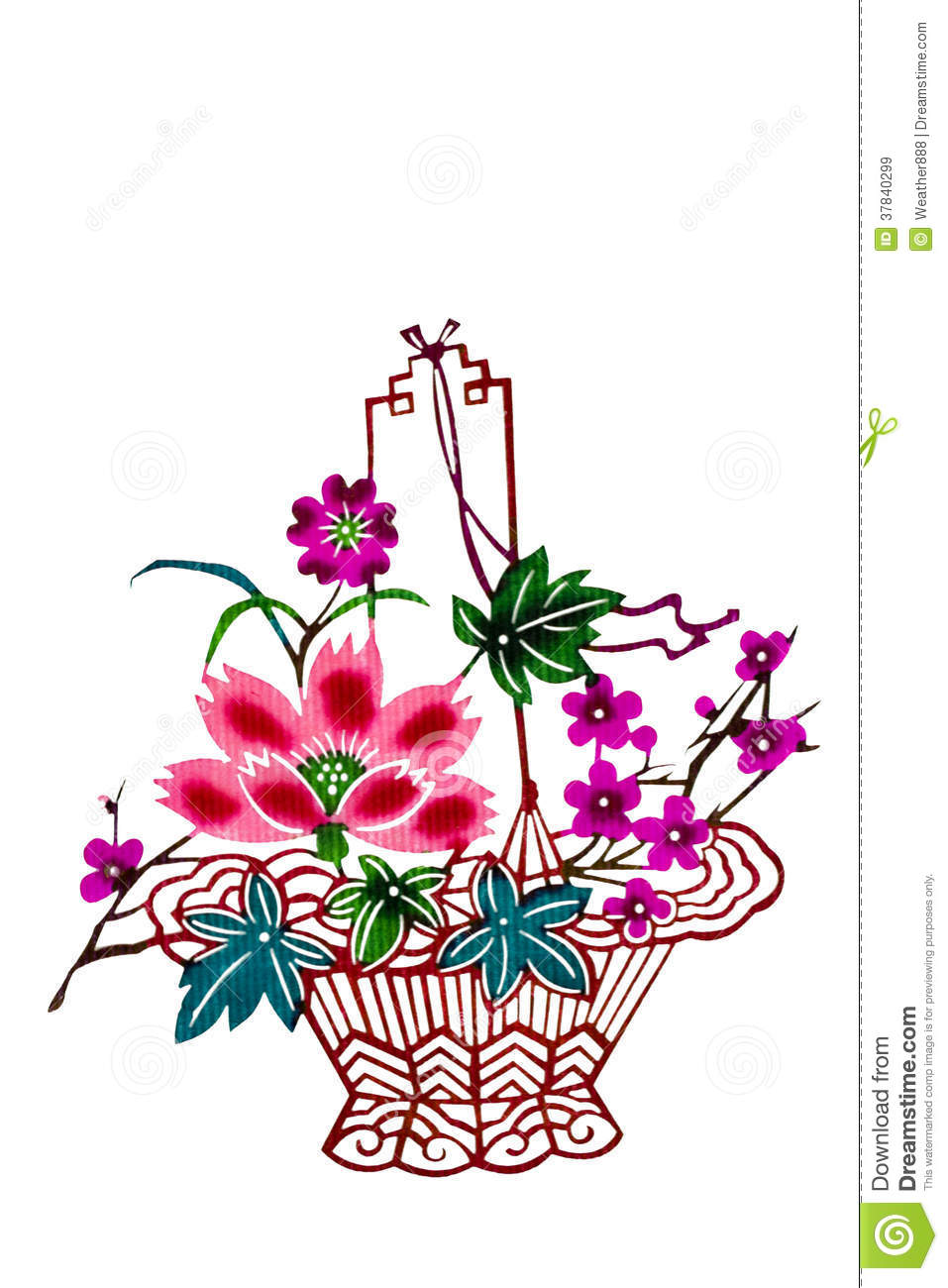 Chinese Paper Cut Color Flower Basket Stock Image Image Of Paper