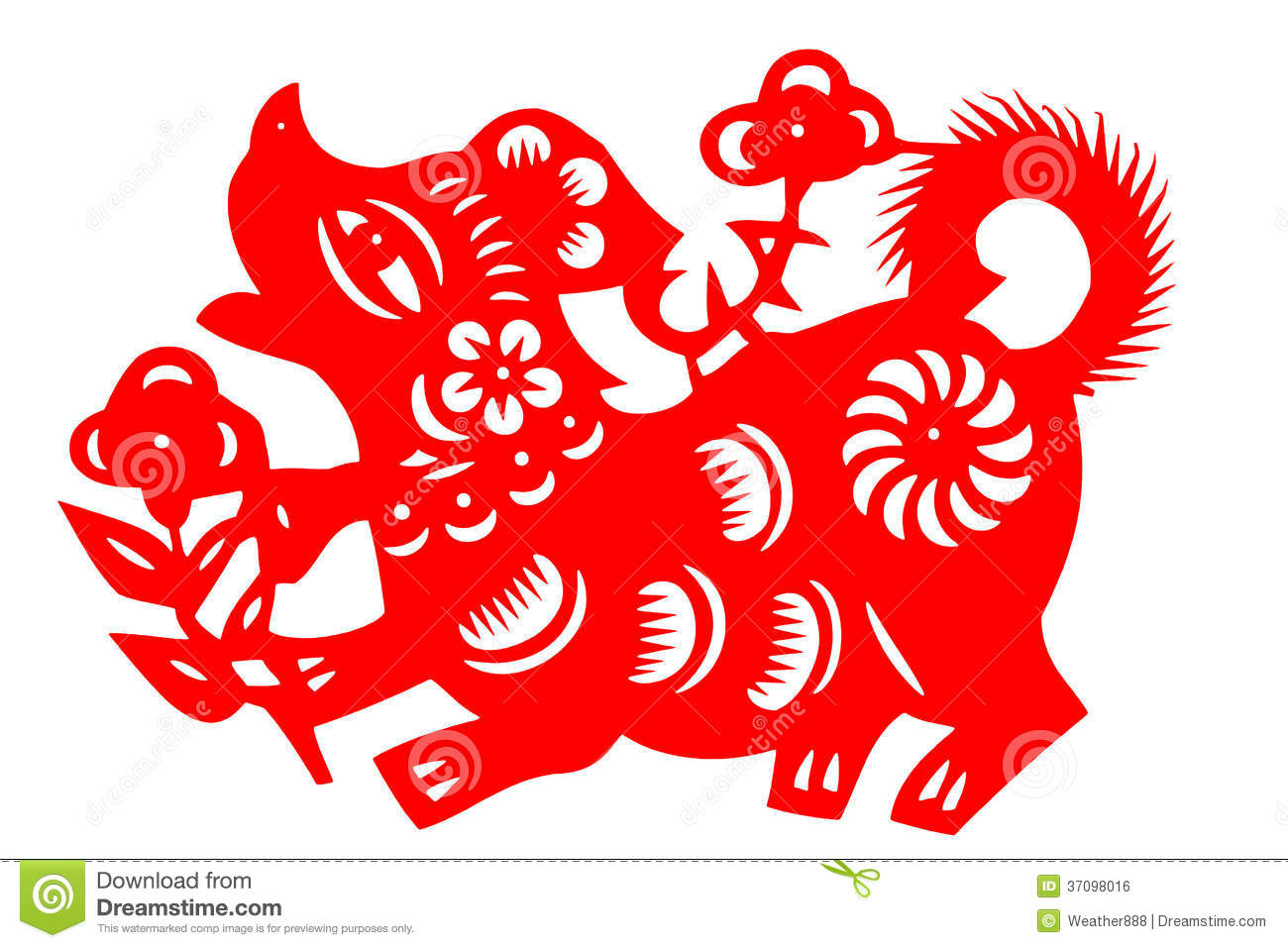 Chinese Paper cut Dog