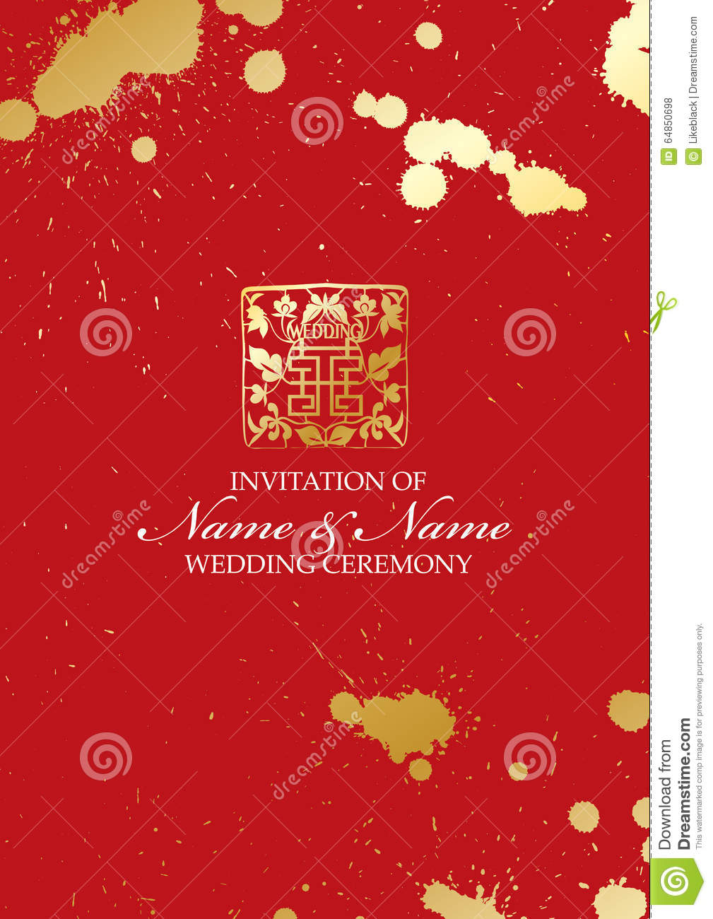 Chinese Paper Cut Style Wedding Invitation Card Template