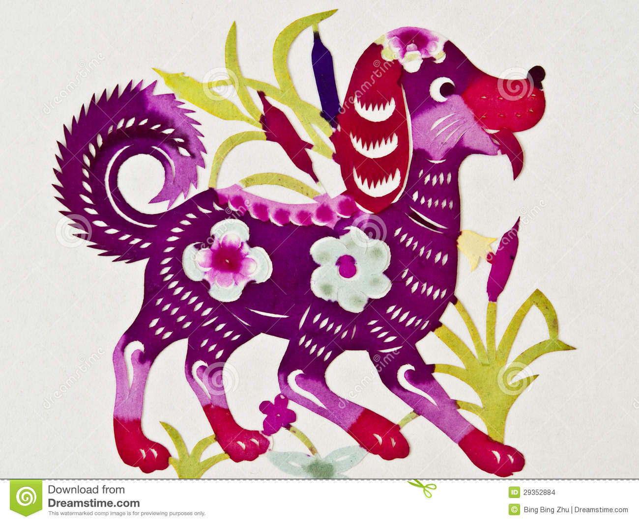 Chinese paper cutting dog