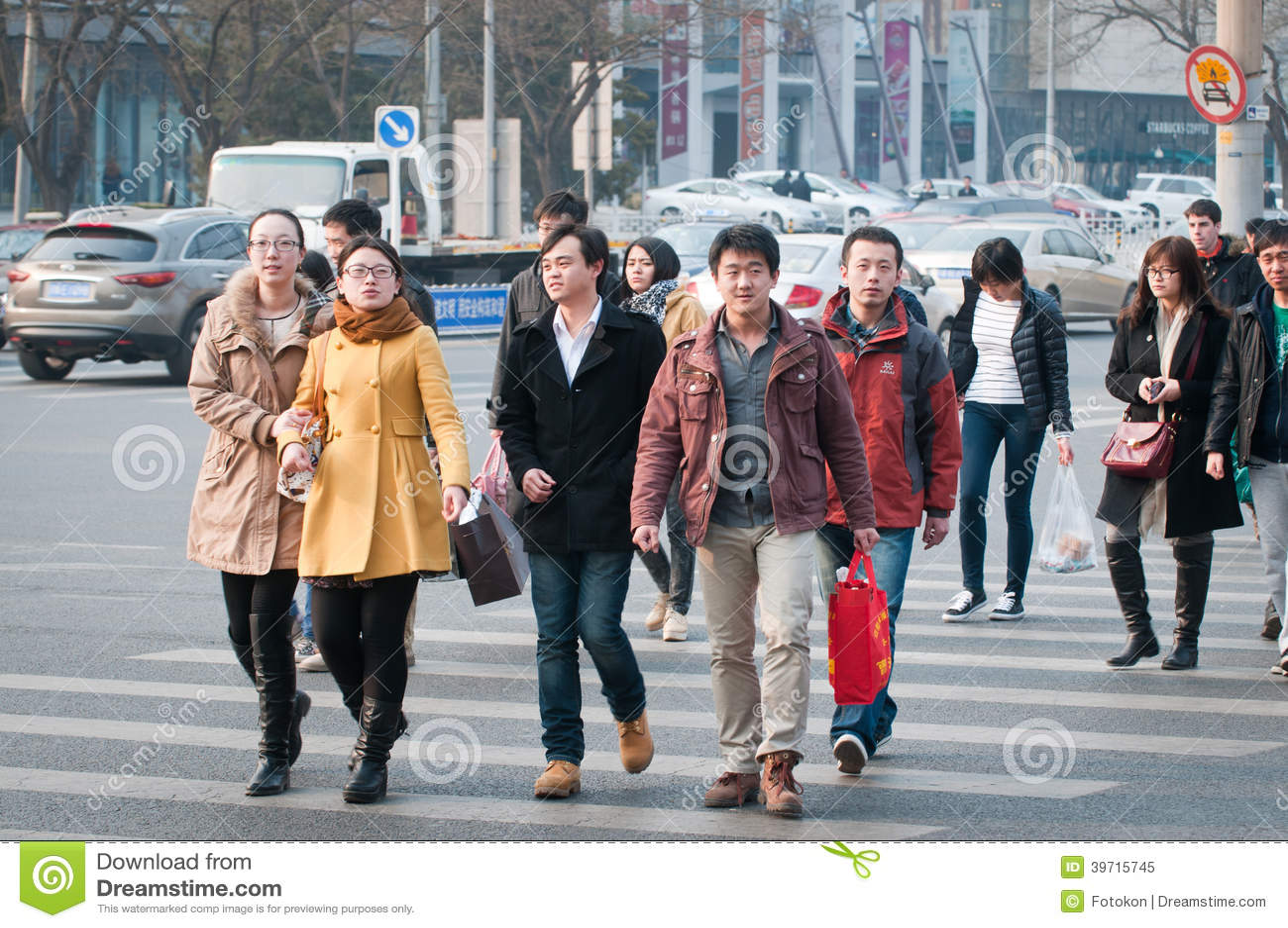Asian people walk