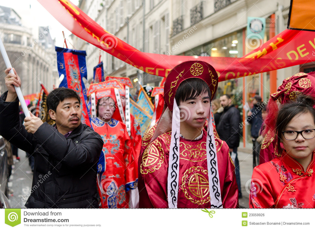 Chinese people enjoying the 2015 chinese new year in Paris, France.