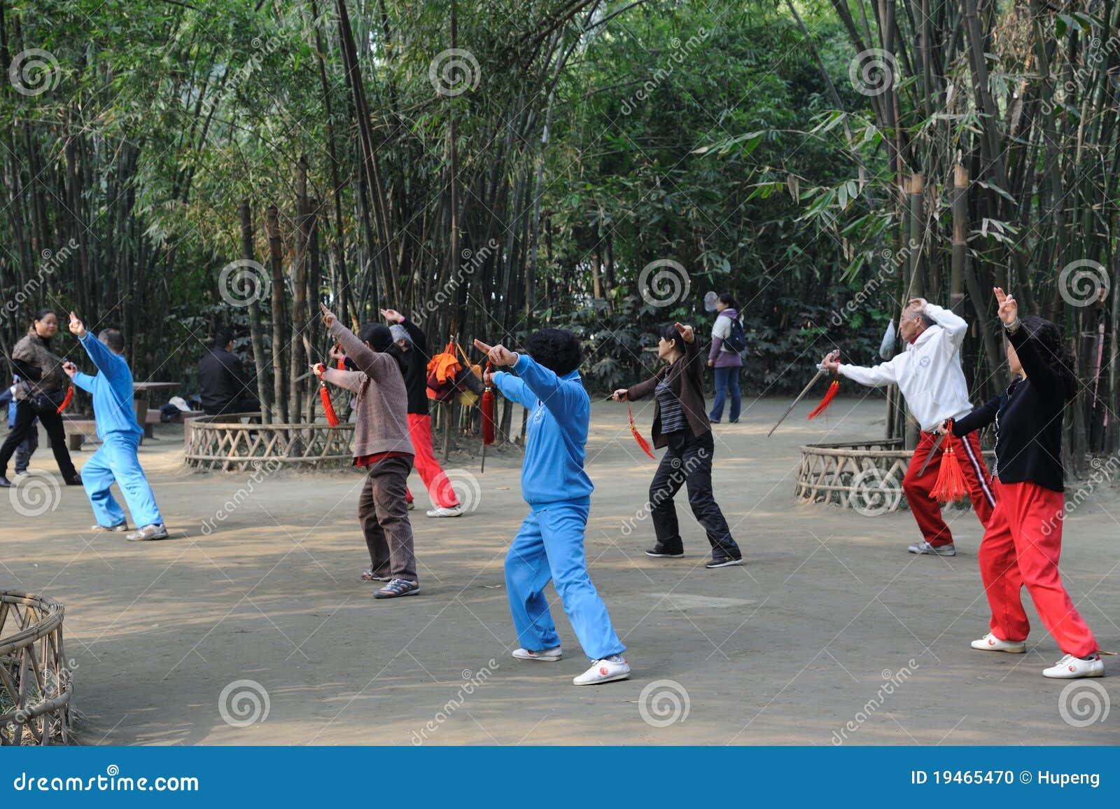 Chinese people are playing taiji sword