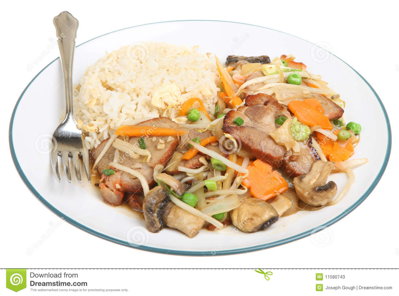 Chinese Pork With Vegetables & Rice Stock Photos - Image: 11580743