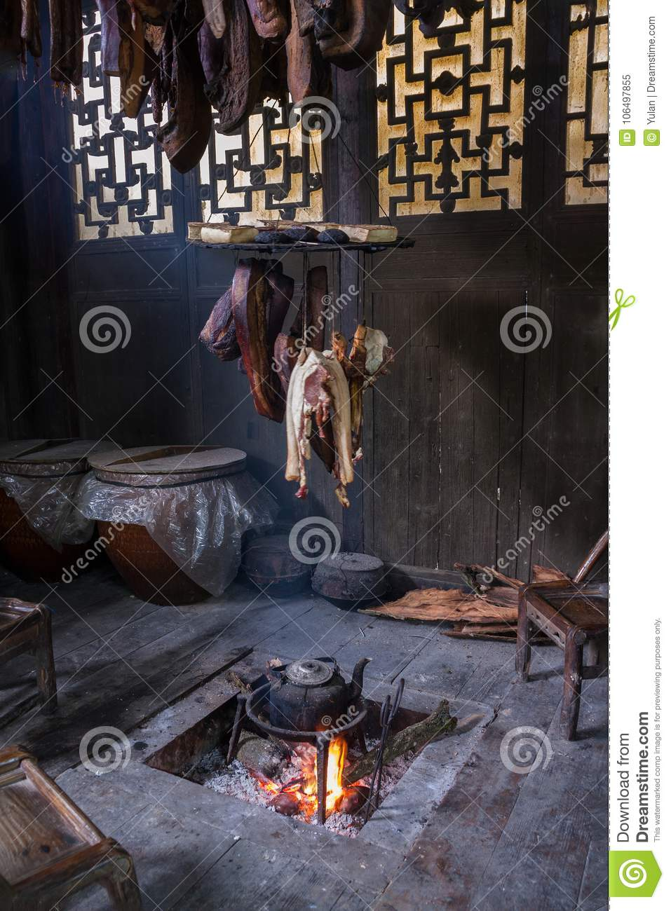 Chinese preserved pork meat making