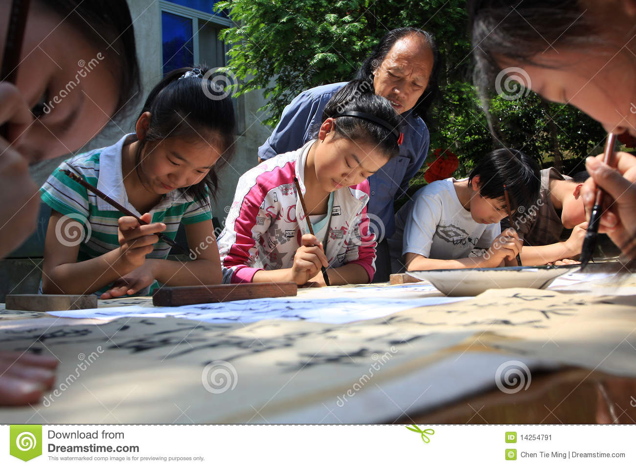 Chinese primary school students in learning callig