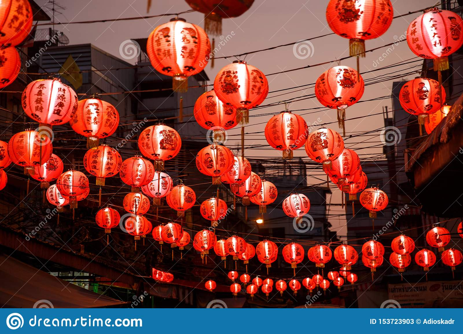 Chinese red lanterns in chinatown on chinese New Year