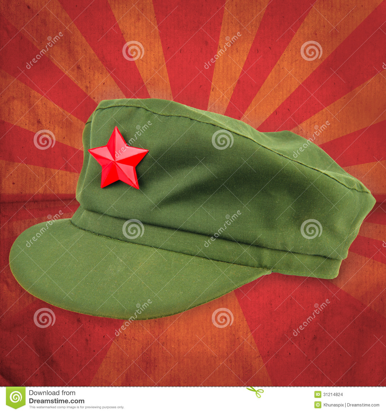 Chinese Red Star Cap With Red Ray Vintage Background Style Stock ... 8c2268008385