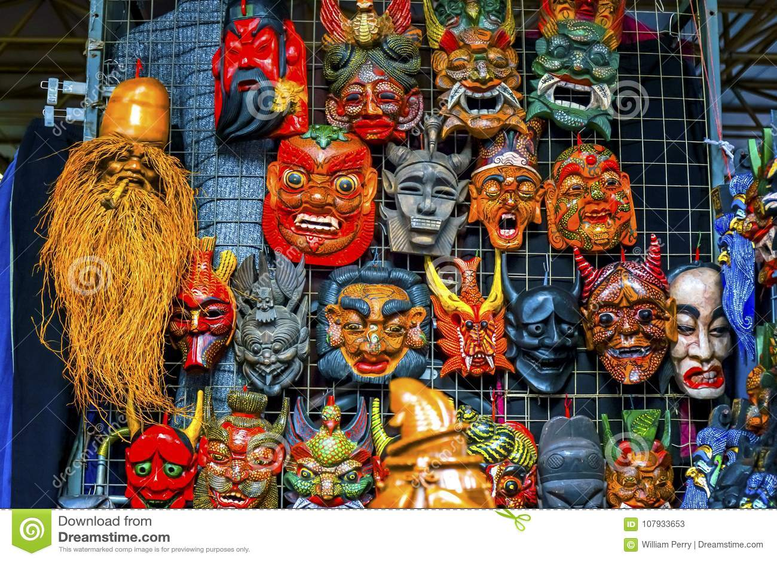 Chinese Replica Wooden Masks Decorations Panjuan Flea Market