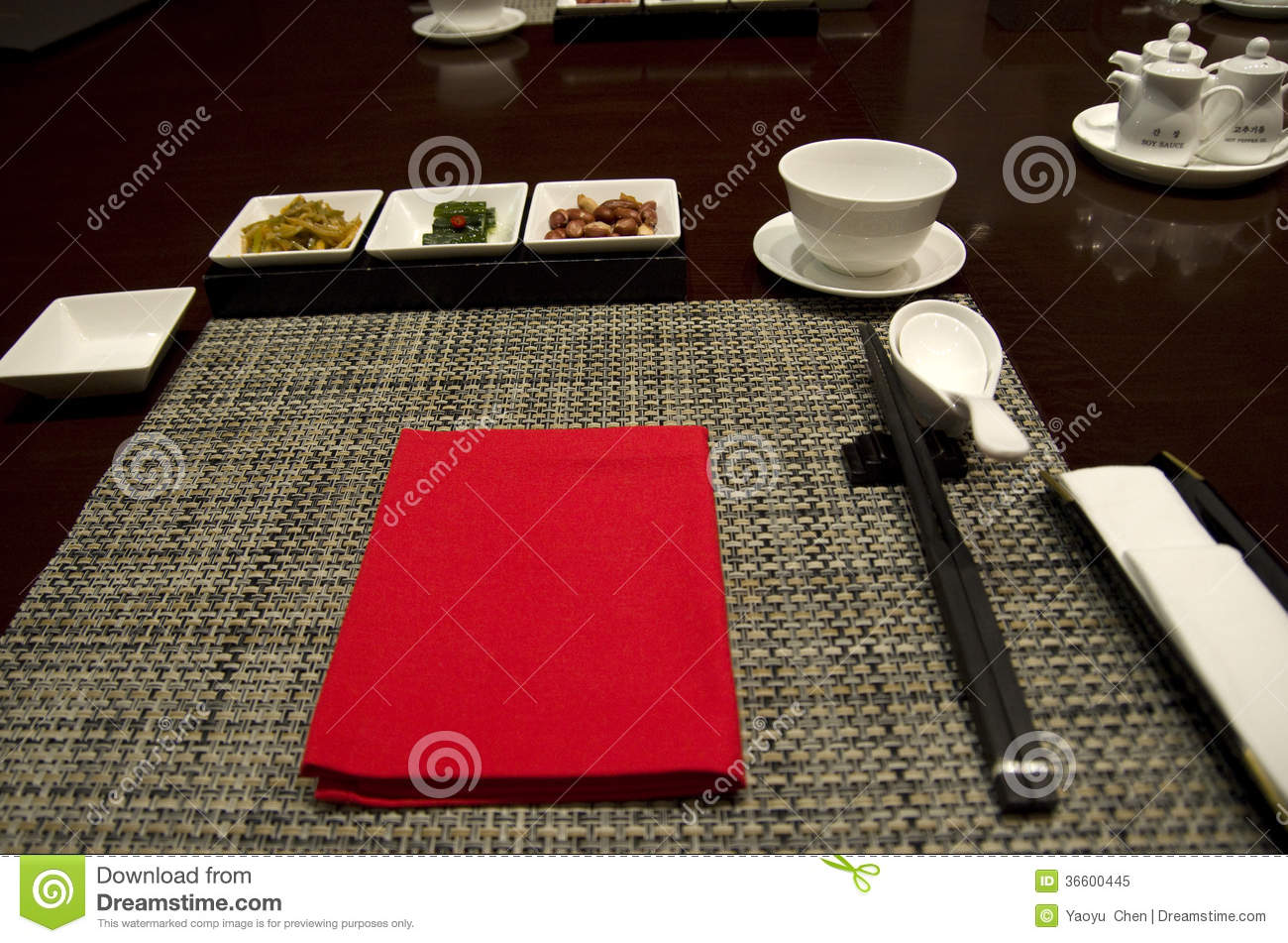Chinese Restaurant Dining Table Setting Stock Image