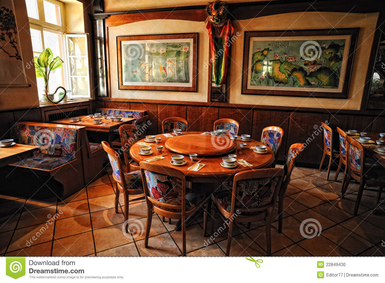 Chinese restaurant interior stock photo image