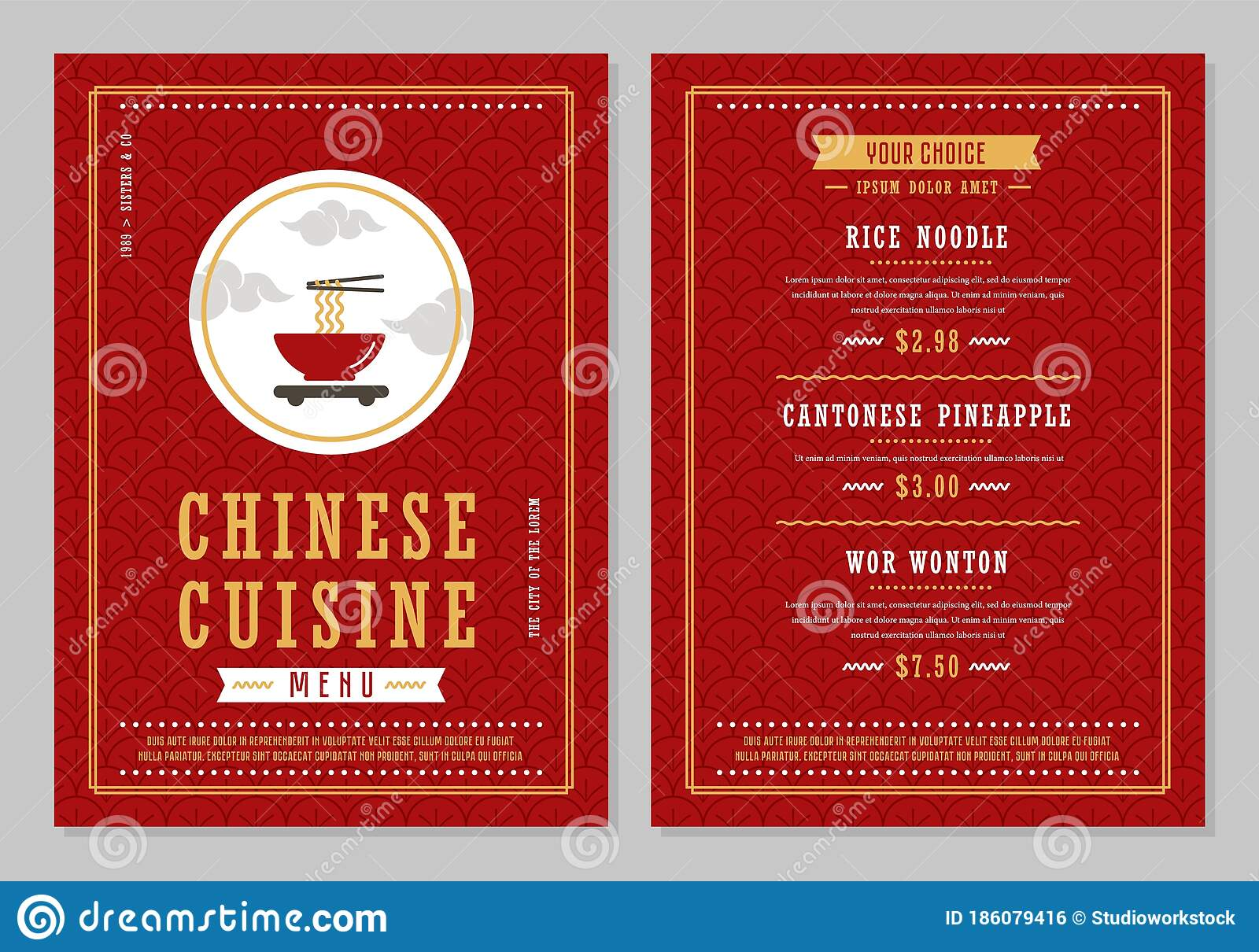 Chinese Menu Design Template Vectror Stock Illustration Illustration Of French Cover 186079416