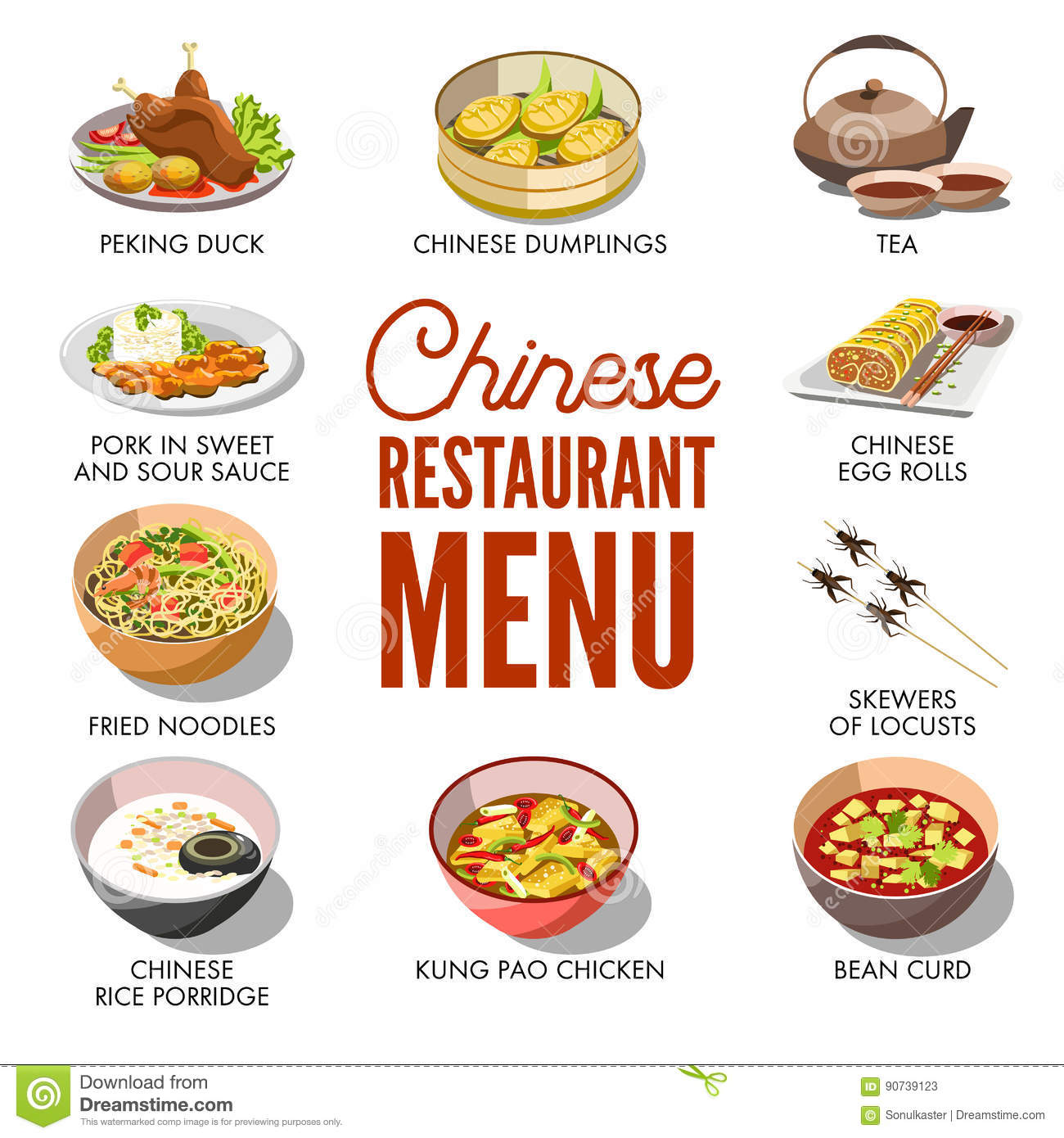 Chinese restaurant menu cover vector template design stock for Design cuisine