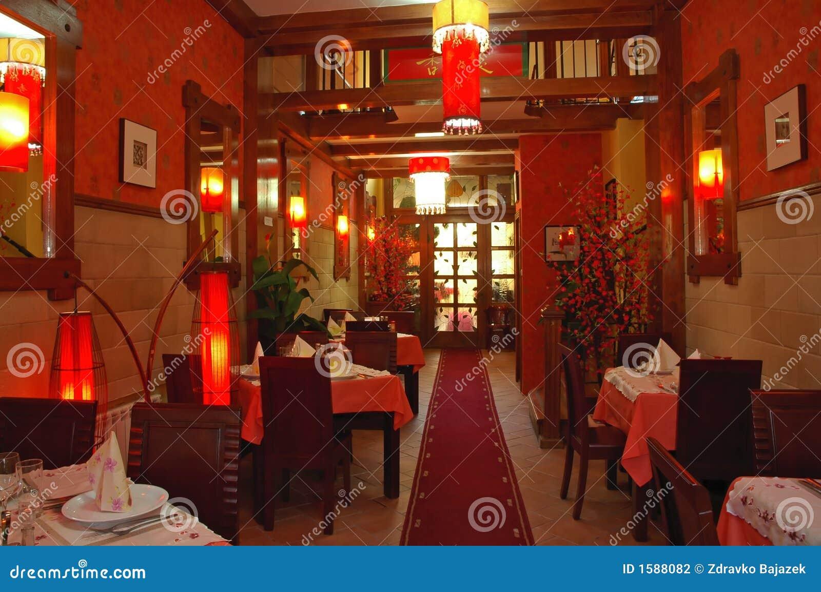 Chinese restaurant stock photo image of setting china