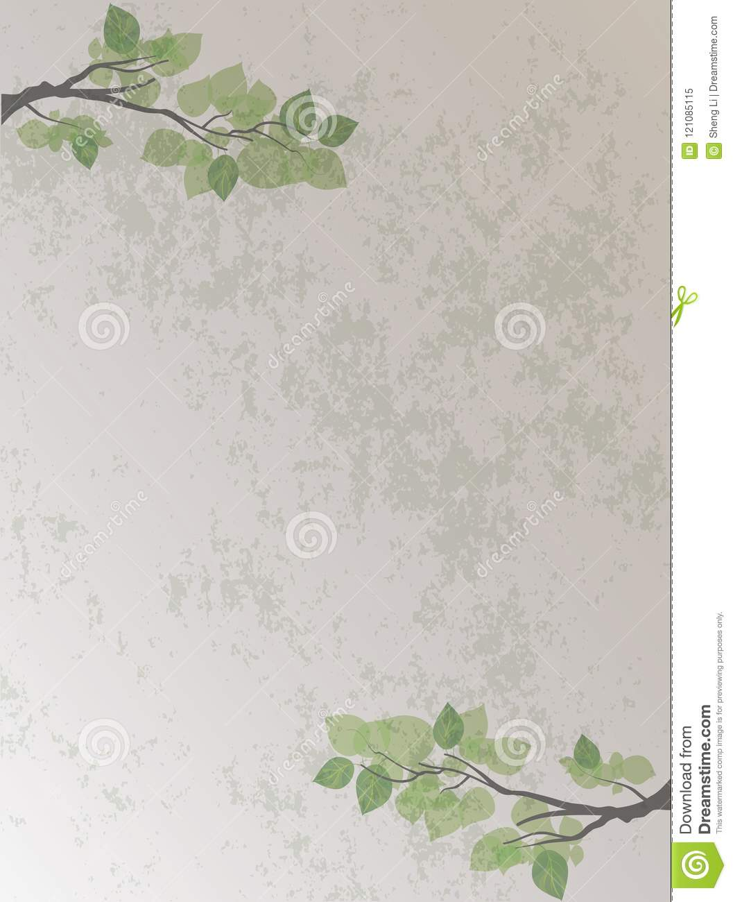 Chinese Retro Style Branches And Leaves Background Stock Vector