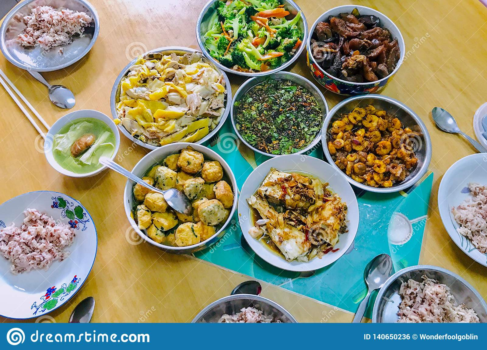 Chinese Traditional Reunion Food Brown Rice White Chicken ...