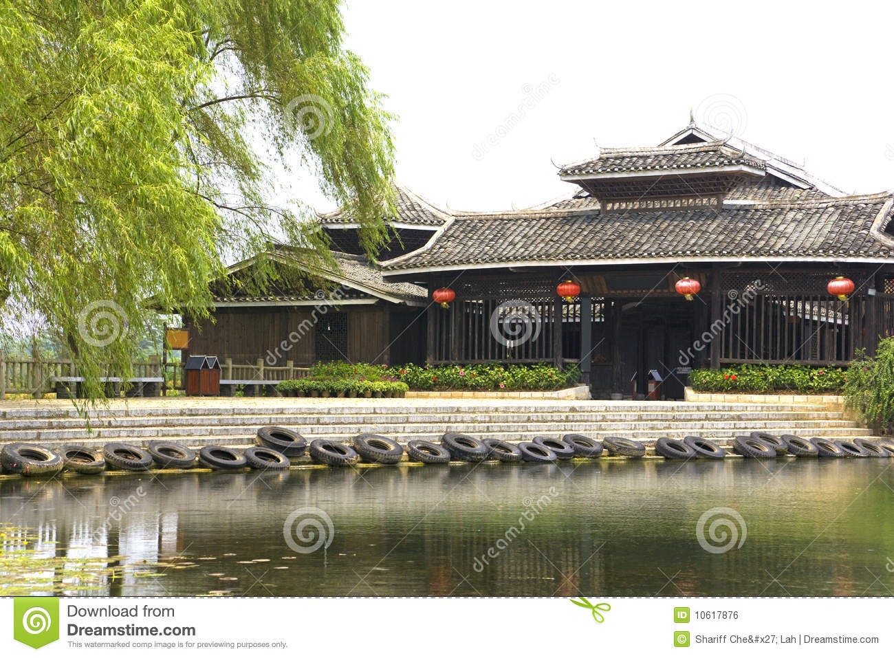 chinese riverside house stock photo image of asia water