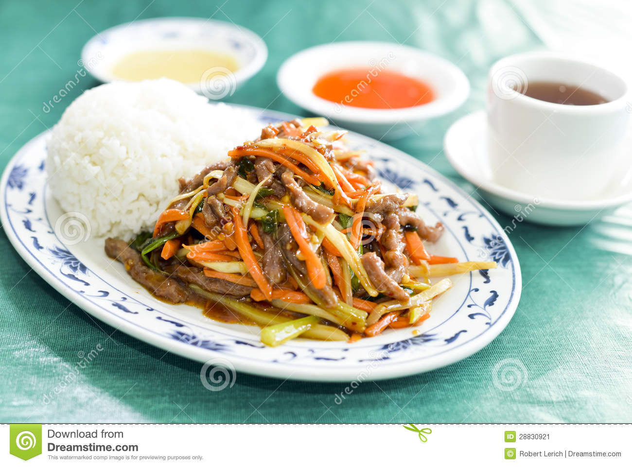 Chinese Roast Pork With Mixed Vegetables Stock Image - Image: 28830921