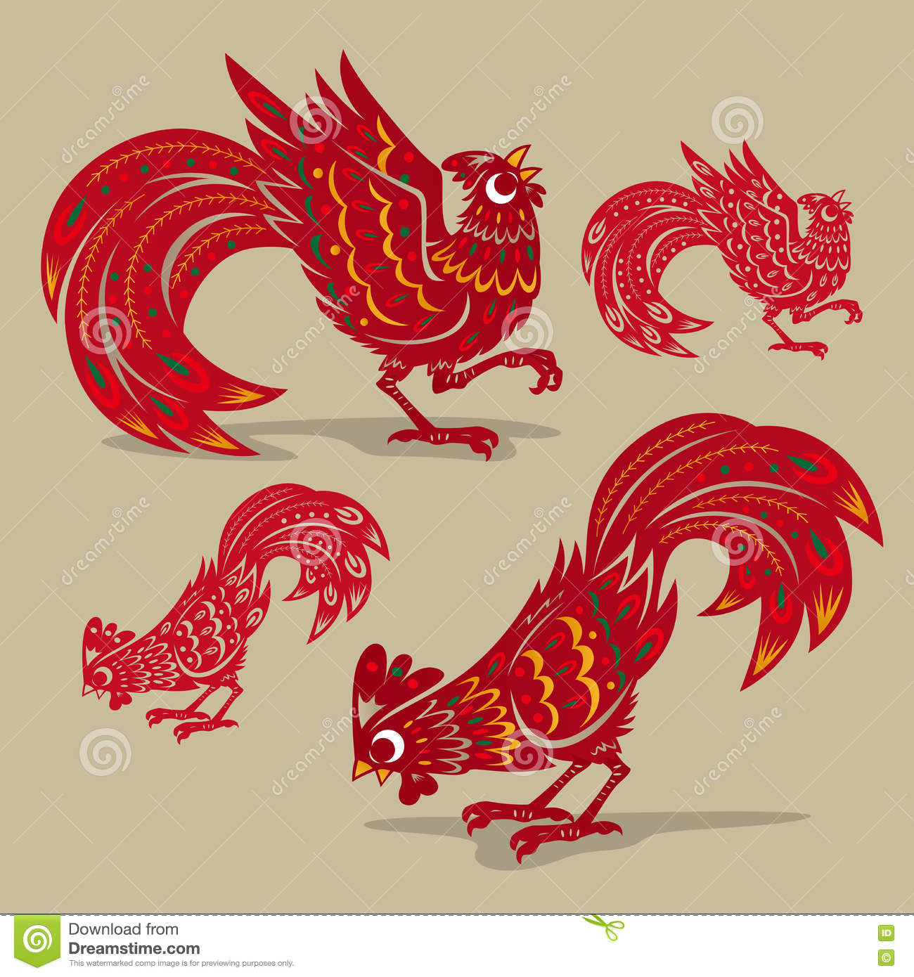 Chinese Rooster Paper Cutting Symbols Stock Vector Illustration Of