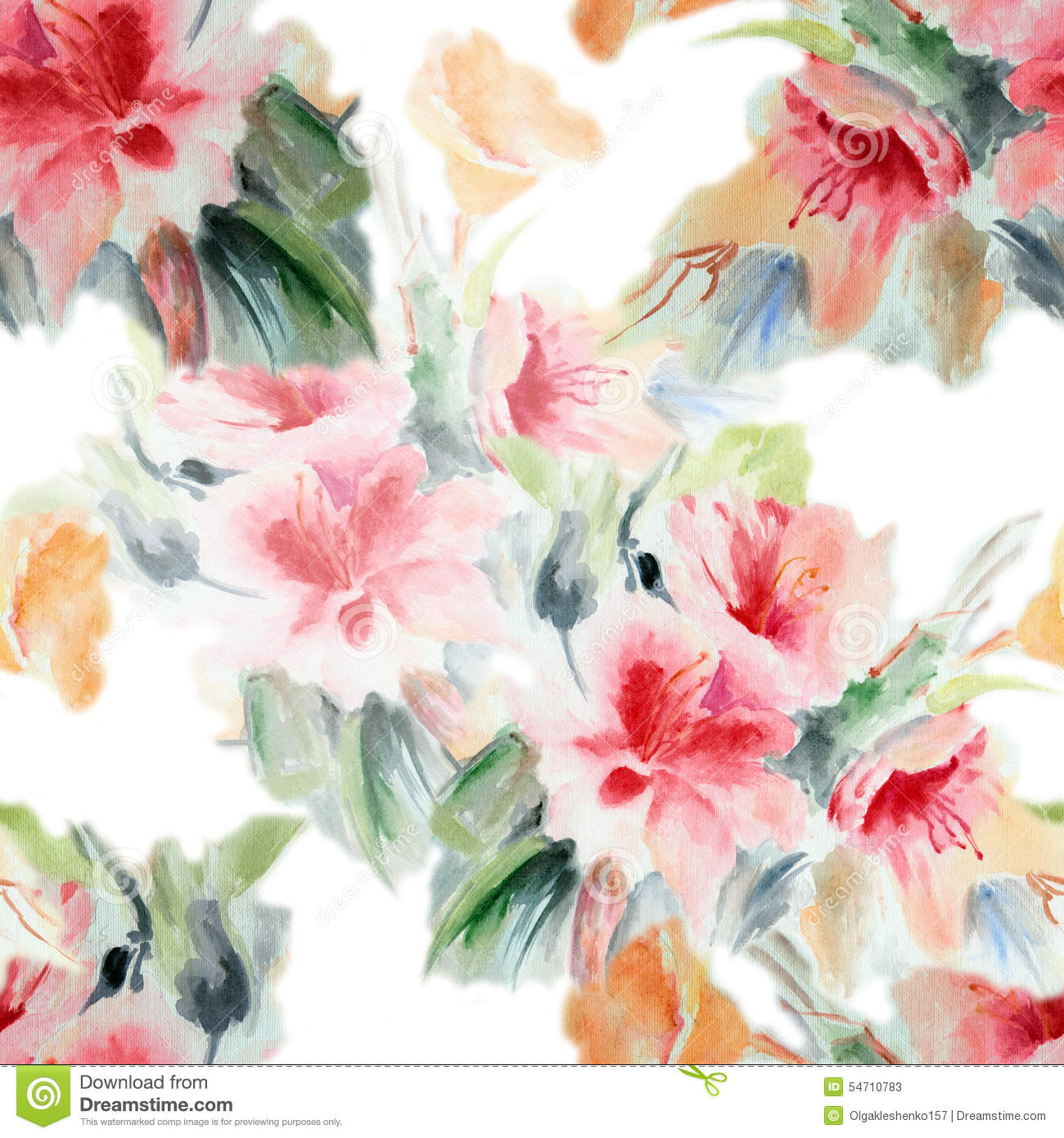 Chinese rose flower bouquet watercolor pattern seamless handmade white