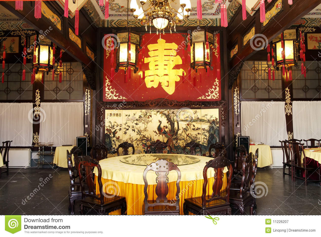 Chinese Royal Banquet Hall Stock Image Image Of