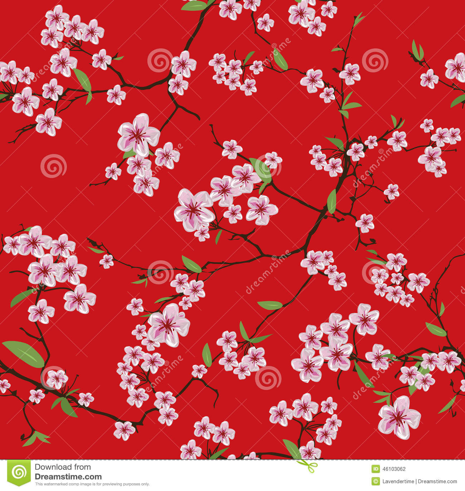 Nature background with blossoming sakura branch royalty free stock - Chinese Sakura Red Kimono Seamless Vector Pattern Stock