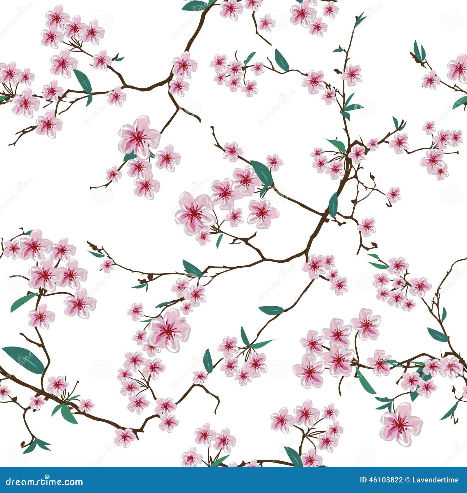 chinese sakura white seamless vector pattern stock vector