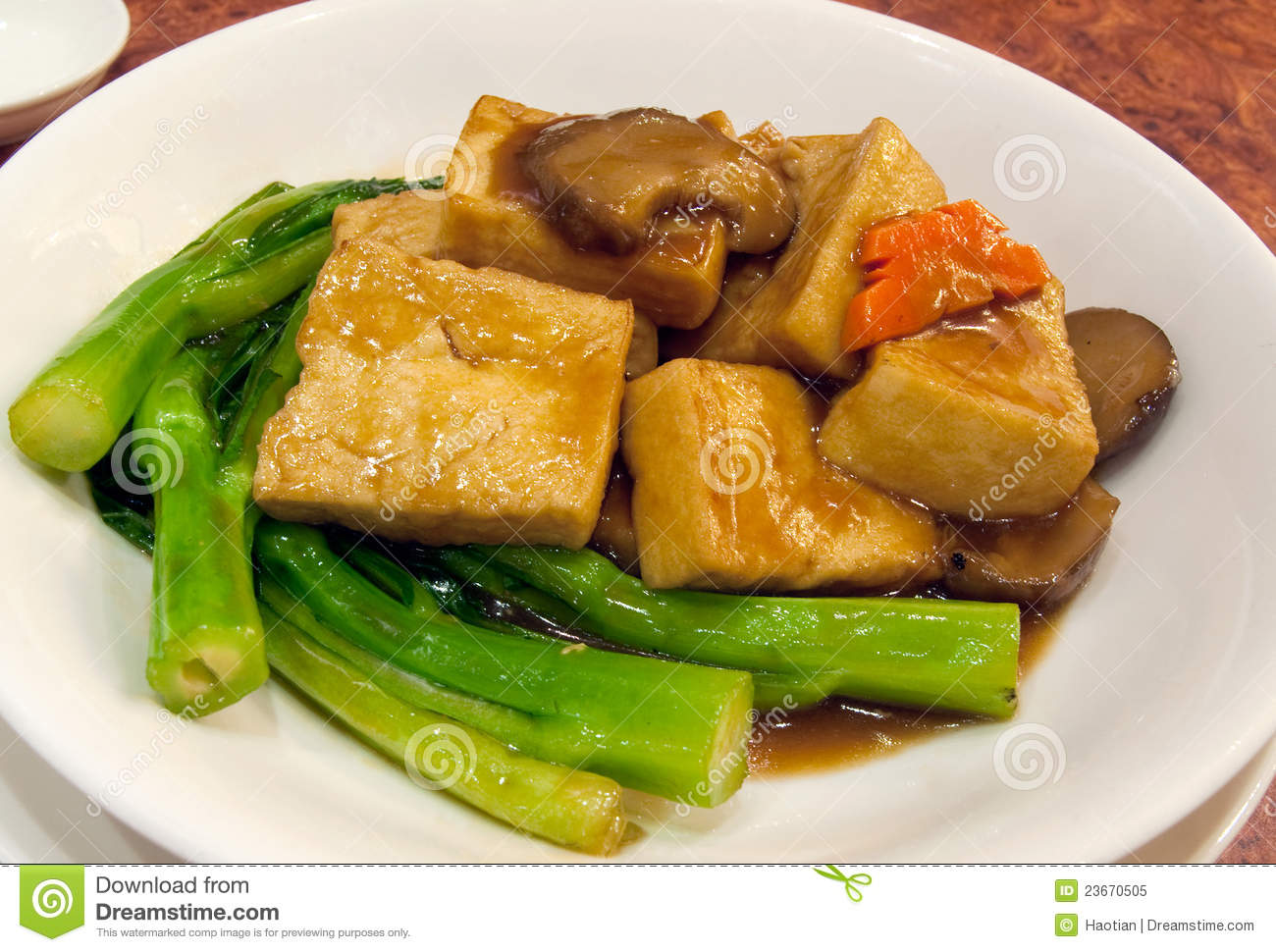 Chinese Sauteed Tofu With Greens Royalty Free Stock Photo - Image ...
