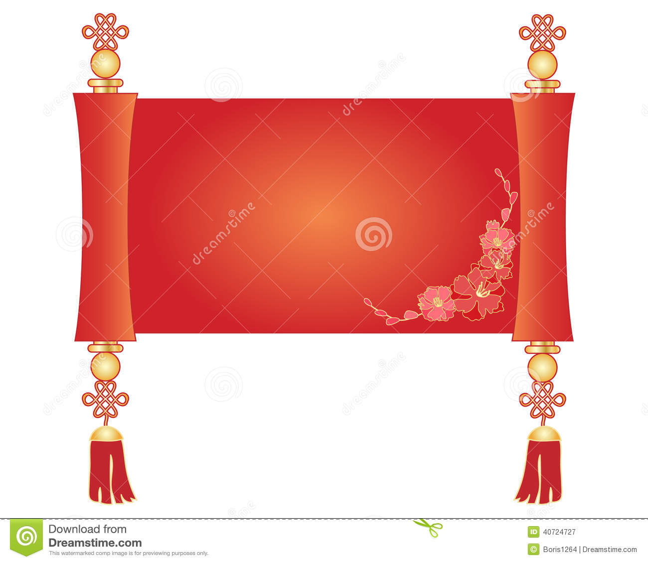 An illustration of a decorative chinese scroll parchment in red and ...