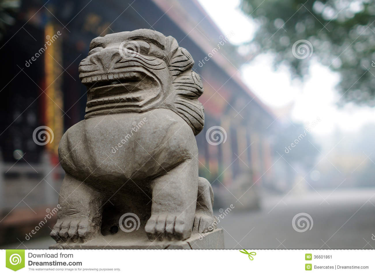 Chinese stone lion in mist