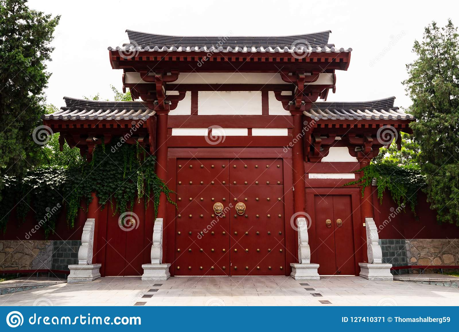 Chinese style door in a buddhist temple - Xi`an, China