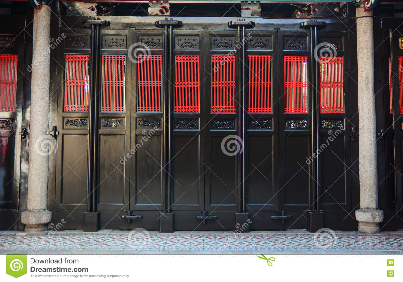 Chinese-style doors in George Town, Malaysia