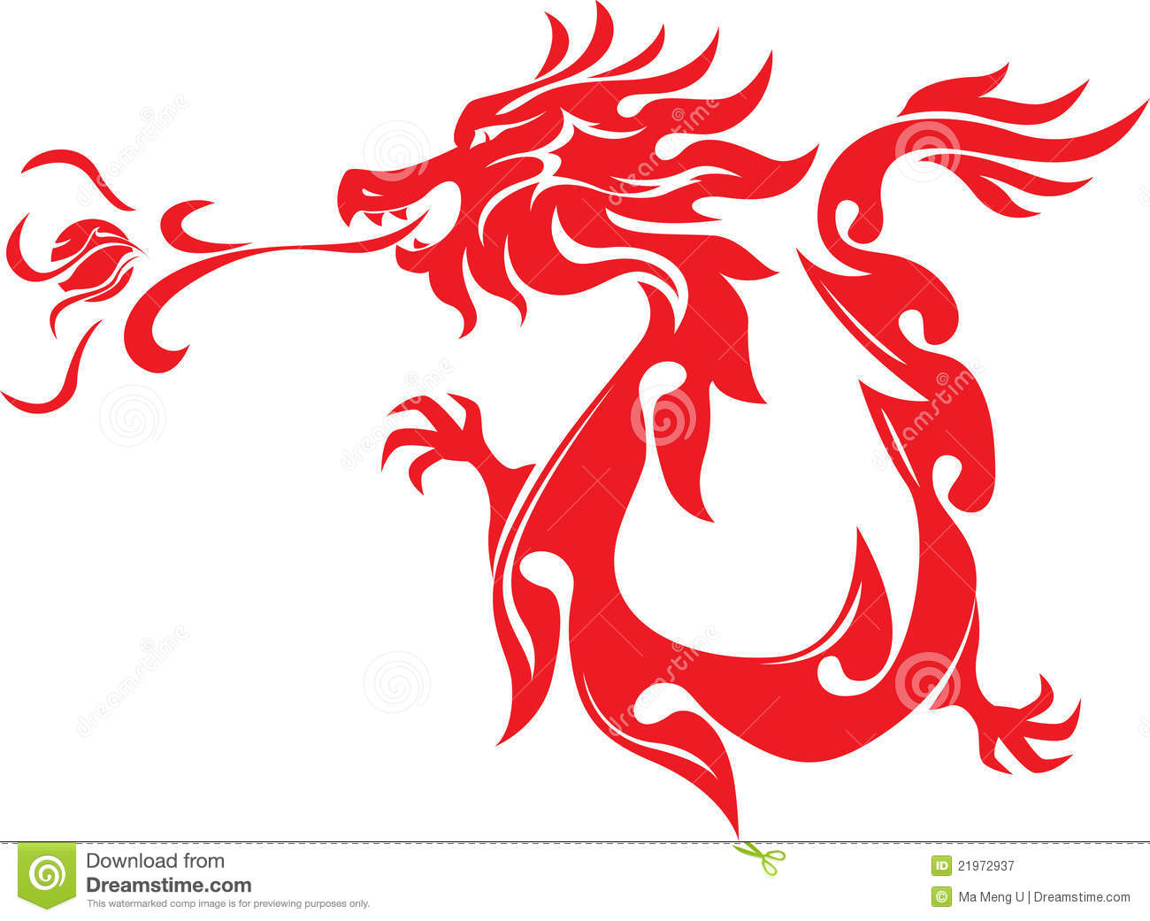 Royalty Free Stock Photography: Chinese Style Dragon Breathing Fire ...