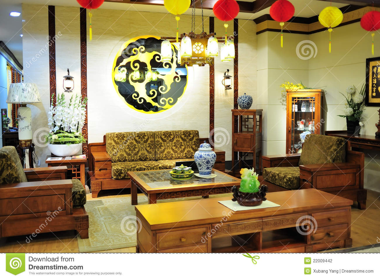 Chinese Style Drawing Room Stock Photo Image Of Living 22009442