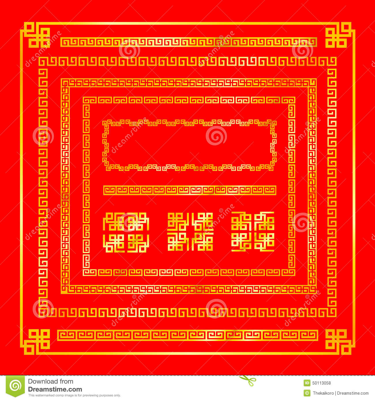 Chinese Style Gold Border Decoration Element For Design ...