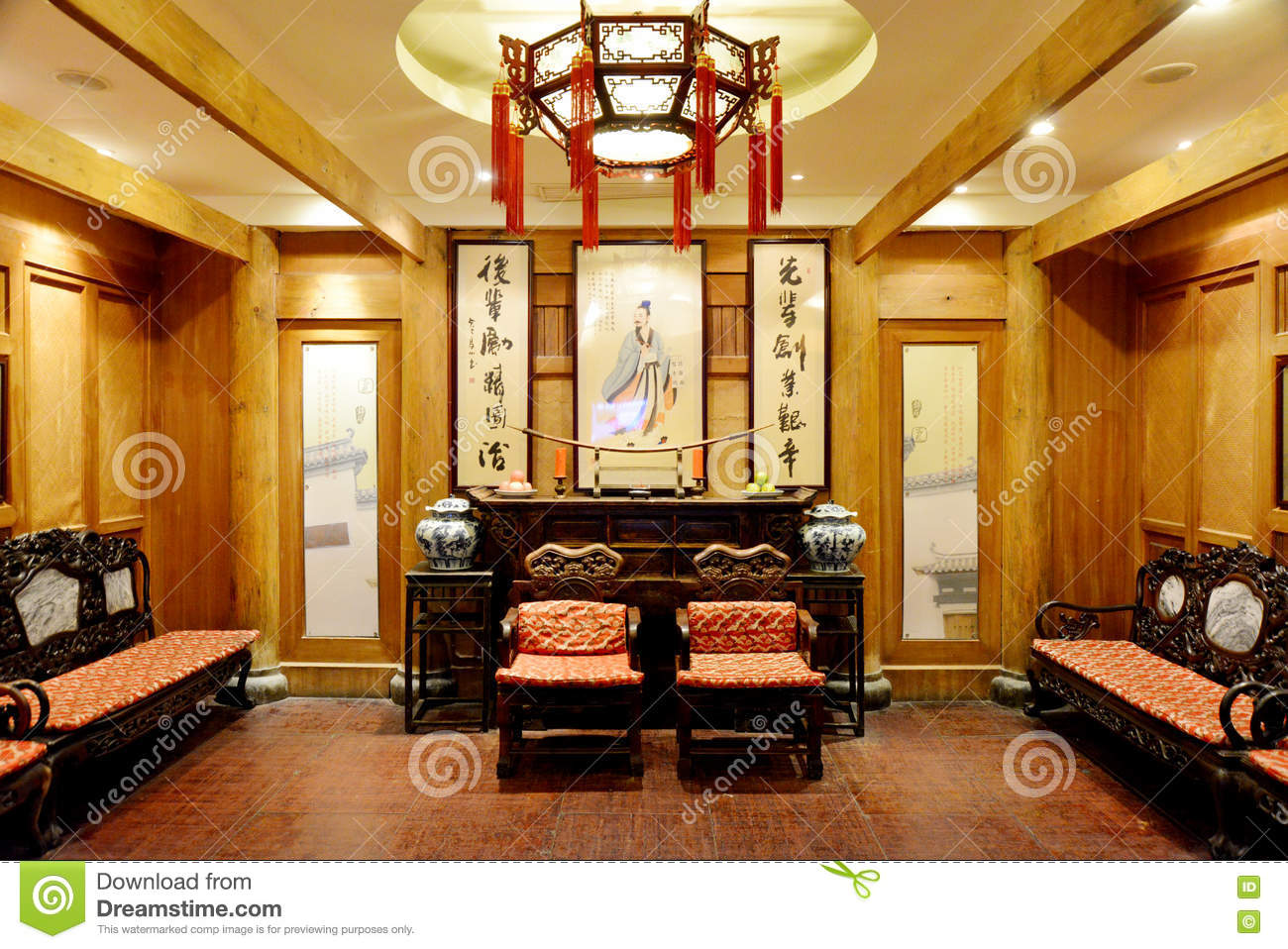 chinese living room decor china style living room stock photo cartoondealer 16013