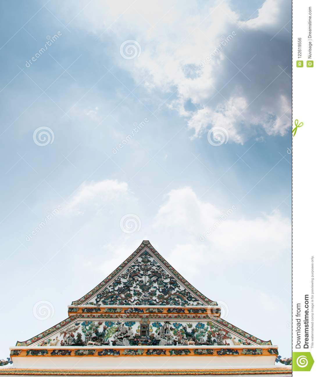 Chinese Style Ornament Ceramic Tiles Facade Of Wat Ratchaorotsar