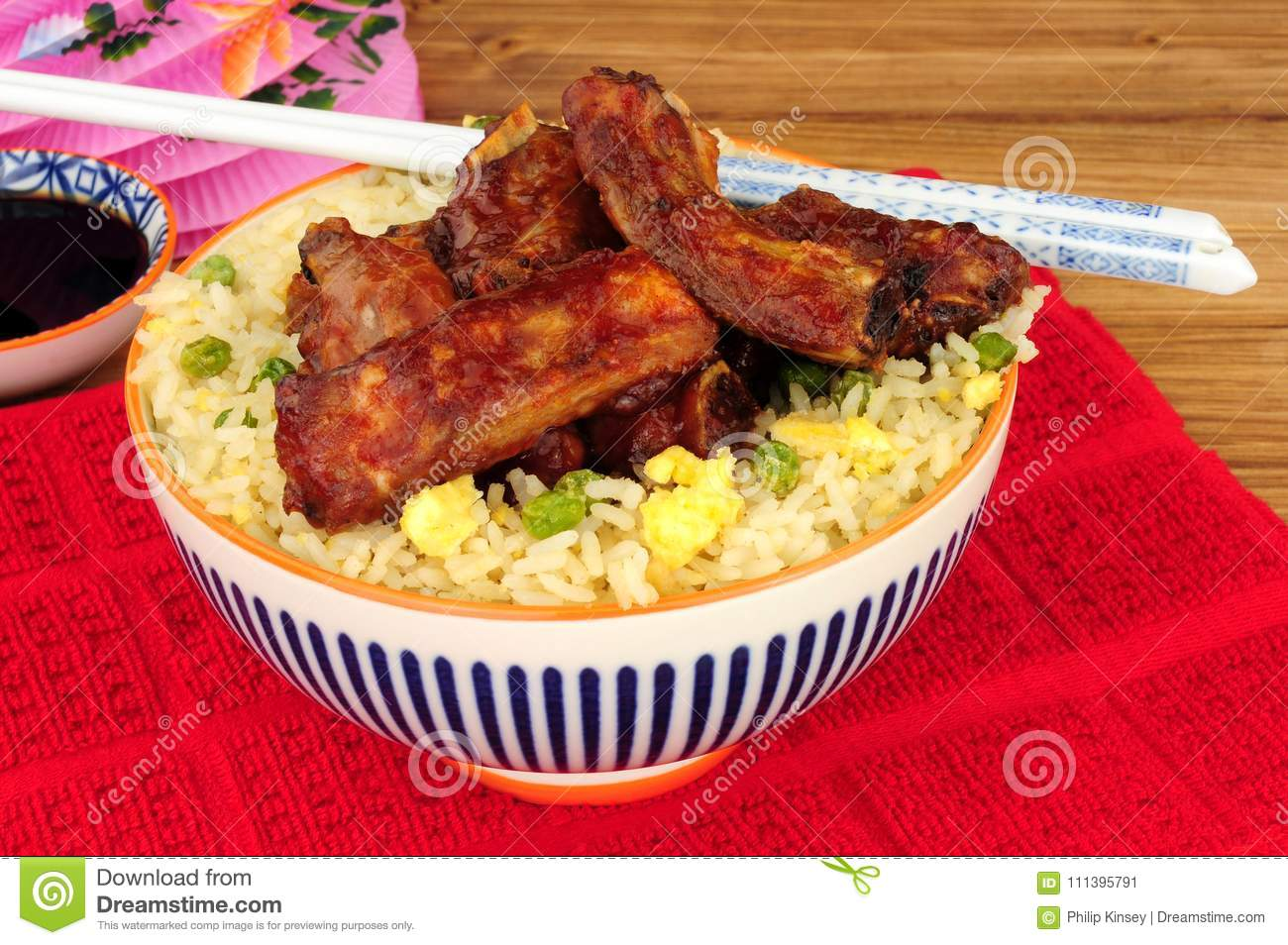 Chinese Style Pork Ribs With Egg Fried Rice