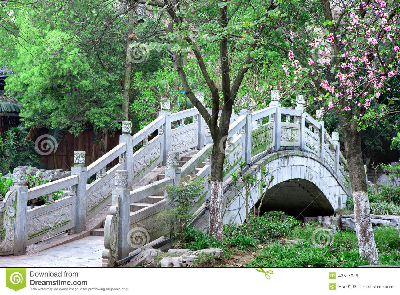 Chinese Style Stone Arch Bridge Stock Photo - Image of plum ...