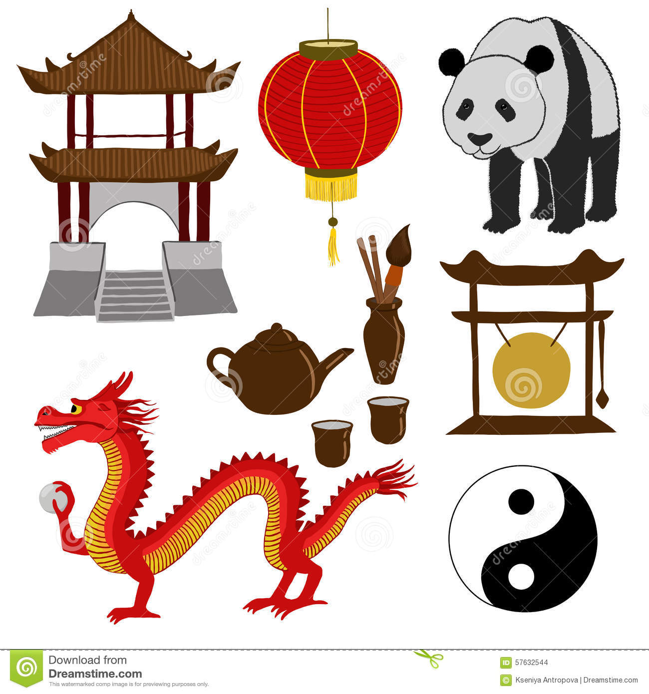 Chinese Symbols Vector Illustration Illustration 57632544 Megapixl