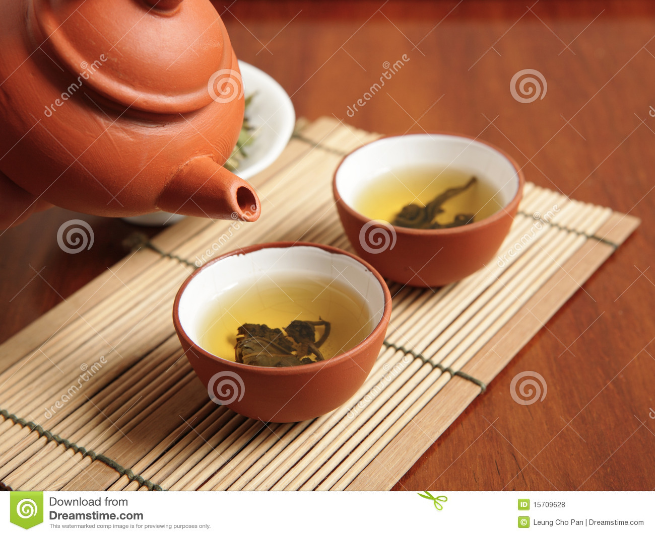 Chinese tea time with two cup of tea.