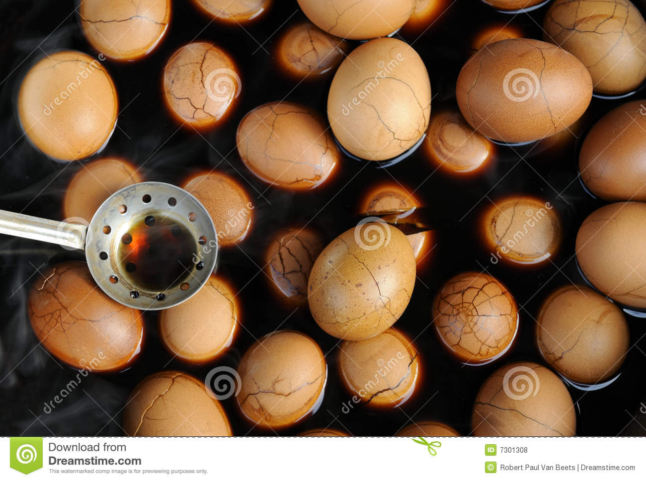 Chinese Tea Eggs, the peel is cracked intentionally to allow spices ...