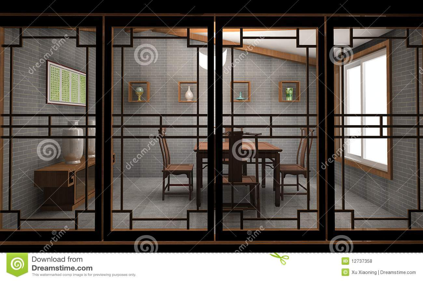 Chinese Tea House Stock Illustration Illustration Of